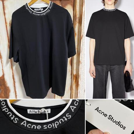 新品 ACNE STUDIOS  アクネ ストゥディオス ネックブランドロゴ ロゴバインディング Tシャツ