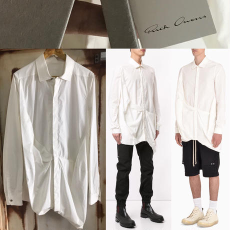 新品★Rick Owens curled shirt リックオウエンス アシンメトリー デザインシャツ