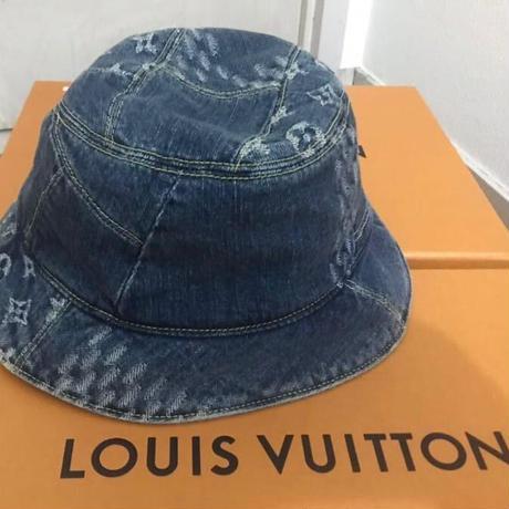 新品 Louis Vuitton NIgo ルイヴィトン コラボ デニム バケットハット 帽子 リバーシブル ブルー 60サイズ