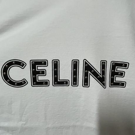 Lサイズ!新品★21SS★CELINE Hedi Simane セリーヌ ブランドロゴ スタッズ付き ルーズ Tシャツ ホワイト