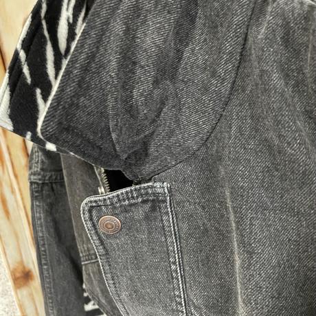 新品★21FW★CELINE Hedi Simane セリーヌ ゼブラ 切り替え オーバーサイズ  デニム ジャケット ブルゾン ブラック