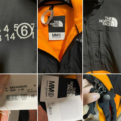 S 新品タグ付★20FW★Maison Margiela MM6 × THE NORTH FACE Circle フリース ジャケット リバーシブル ブラックオレンジ オーバーサイズ