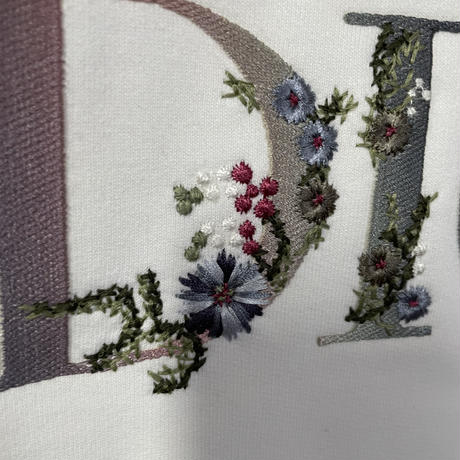 国内完売品!新品★DIOR FLOWERS ディオール ブランドロゴ 刺繍 スウェットシャツ オーバーサイズ XXL