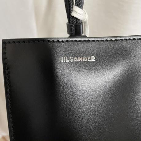 新品タグ付★タグ付き★JIL SANDER アイフォンケース ショルダーバッグ ブランドロゴ レザー 黒TANGLE PHONE CASE MINI BAG