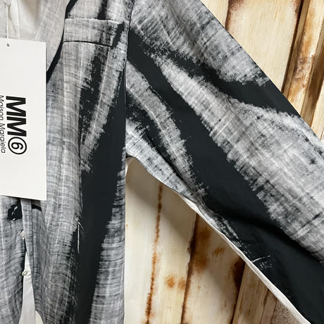 新品タグ付★Maison Margiela MM6 メゾンマルジェラ 騙し絵 テーラードジャケットプリント オーバーサイズシャツ S