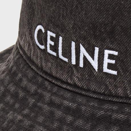 新品タグ付★CELINE Hedi Simane セリーヌ ブランドロゴ  刺繍タイプ デニム バケットハット BLACK