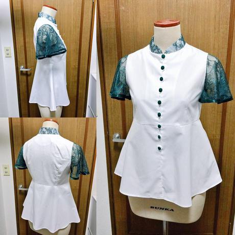 【訳あり商品!】『星咲く刺繍のチャイナシャツ』グリーンレース限定品