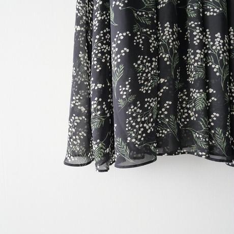 SLOBE IENA / ミモザ柄ギャザーロングスカート /  20011-0106