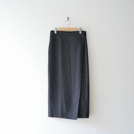 2018 / MACPHEE ドットプリントIラインミディラップスカート 1908-0346