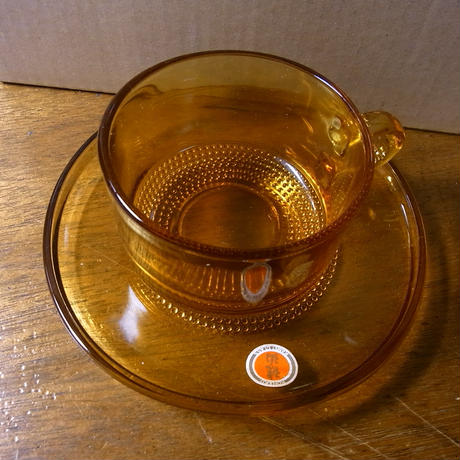 カメイガラス アンバー 琥珀 カップ&ソーサー Kamei glass, Amber cup and saucer
