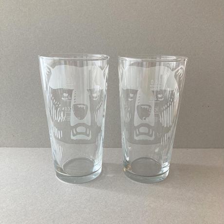 Finland karhu beer glass 500ml white