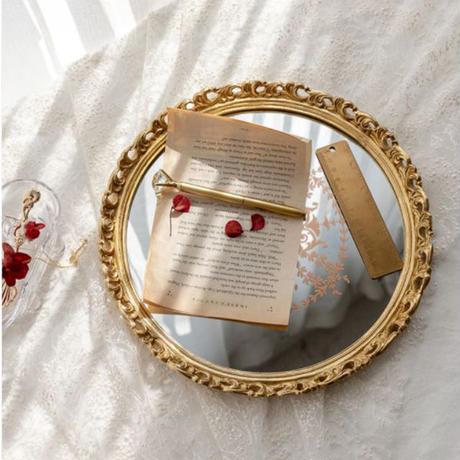 mirror-09002 アンティークゴールド ミラートレイ サークル