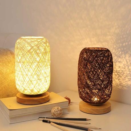 light-03020 ラタン ナイトライト LEDライト 円筒 USB 間接照明 天然木