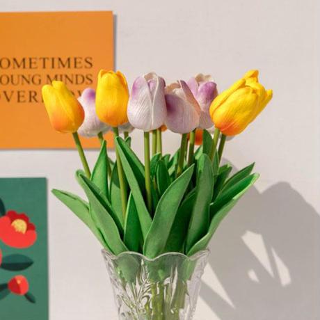interior-09009 フェイクフラワー 造花 チューリップ 同色4本セット