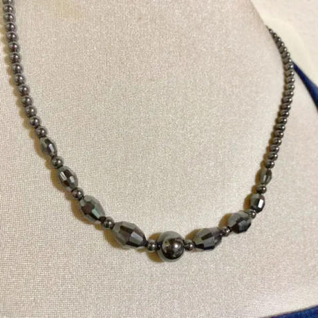 【ヘマタイト】天然石 パワーストーン 丸珠 デザインカット ネックレス 本物