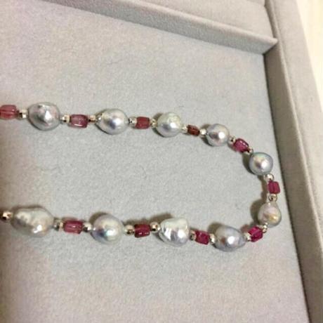 【個性的】バロック真珠 トルマリン 本真珠 天然パール 14金 ホワイトゴールド