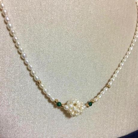 【淡水パール】本真珠 天然パール マラカイト デザインネックレス 留め具 14金