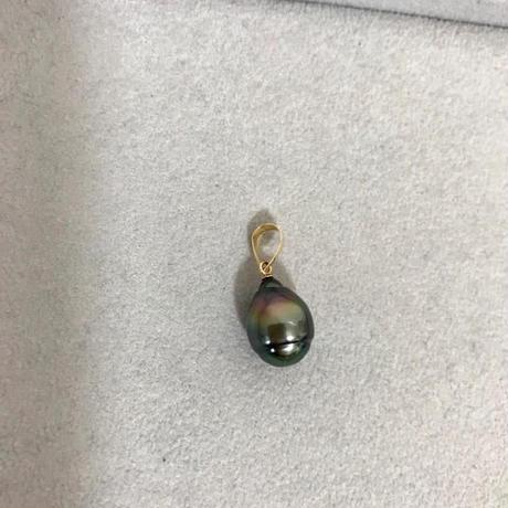 【バロック真珠】黒真珠 ペントップ 天然 パール 18金 本物 未使用品