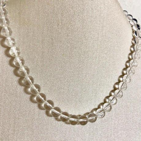 【水晶】丸珠 ネックレス 天然石 パワーストーン シルバー留具 クリスタル 本物