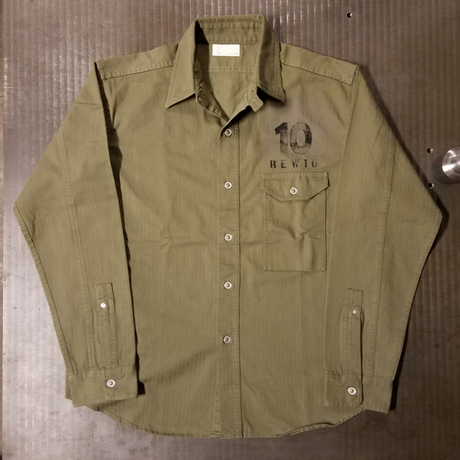REW10  OLIVE  DRAB  HERRINGBONE  WORKSHIRTS