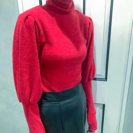 puff sleeve turtle neck knit (red)