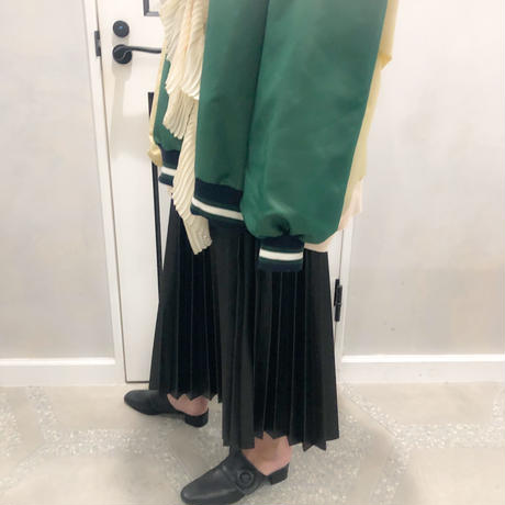 fake leather pleats skirt
