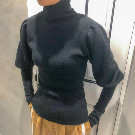 puff sleeve turtle neck knit (black)