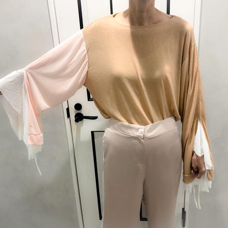 layered style long tshirt (pink × brown)