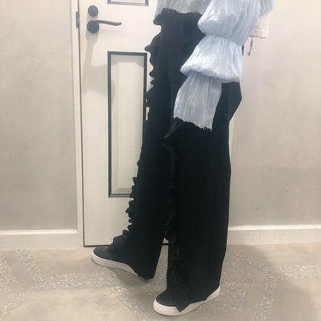 relax frill pants (black)