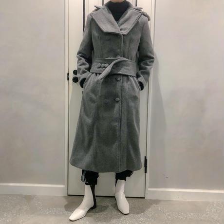 fur & belt set long coat