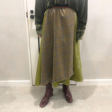 hounds tooth rap skirt (khaki)