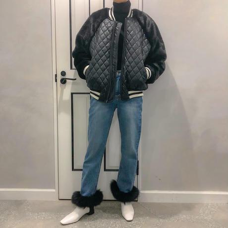 fur sleeve  fake leather blouson