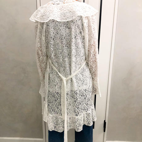 lace frill long cardigan