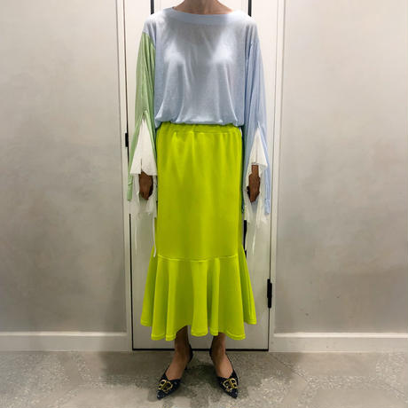 layered style long tshirt (blue × green)