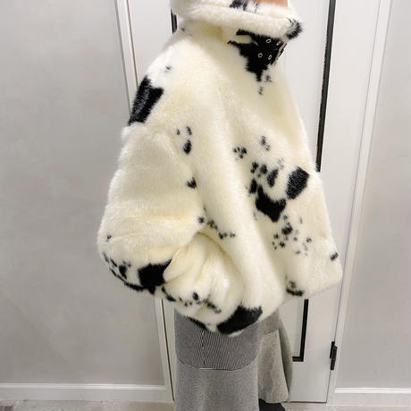 cow print fur outer
