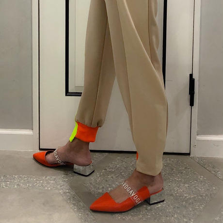 clear band heel shoes (orange)