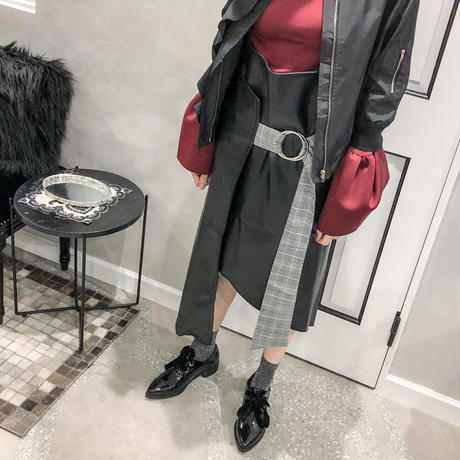 check belt rap skirt