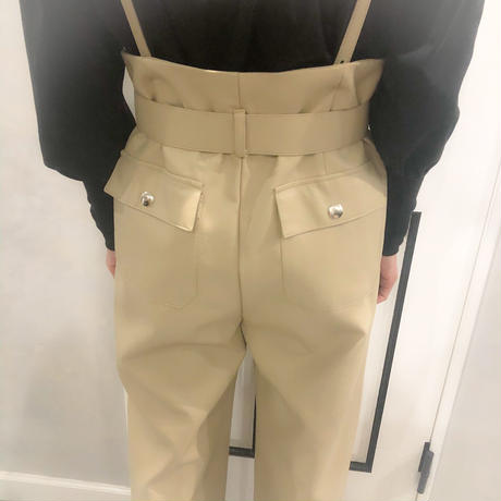 belt set leather pants (beige)