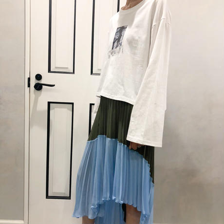 asymmetry pleats skirt