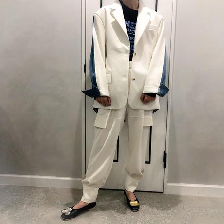 high waist cargo pants (white)