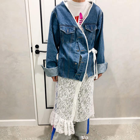denim lace long jacket