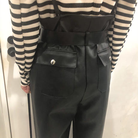 belt set leather pants (black)