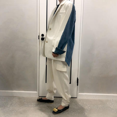 denim × leather oversize jacket