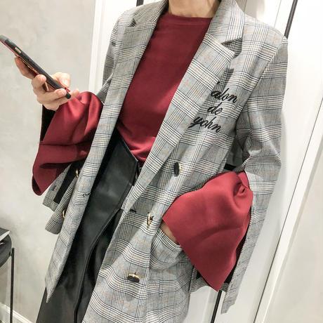 open sleeve check jacket