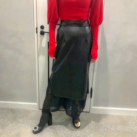 fake leather × chiffon combi skirt