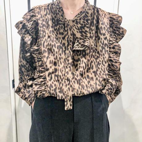 frill leopard shirt (brown)
