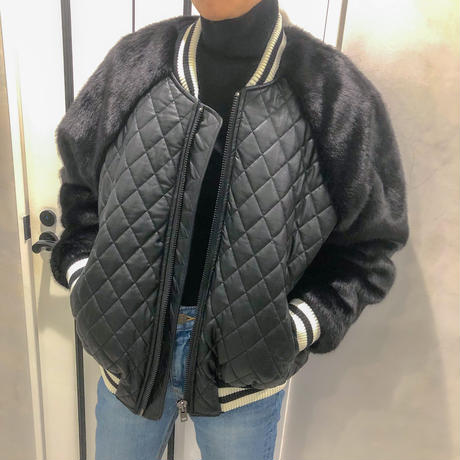 fur sleeve  fake leather blouson