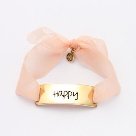 "Charm Bracelet ""Happy"" - Gold - Organdy ribbon"