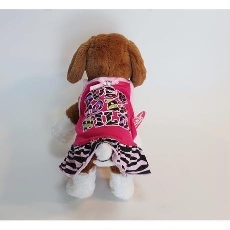 ドッグウエア★小型犬★ピンク&ゼブラ柄フリルワンピース