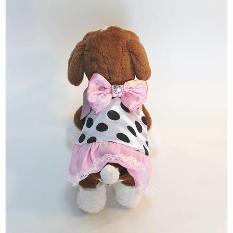 ドッグウエア★小型犬★ピンクリボン&ホワイトドット柄フリルワンピース